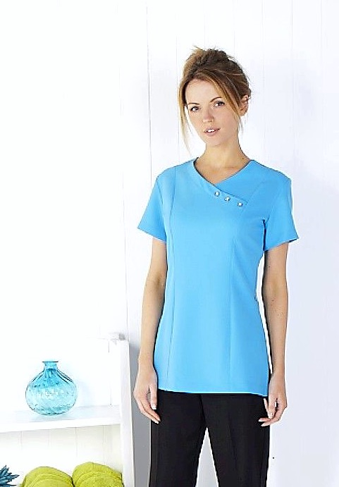 Crossover Tunic Diamate Buttons - Bright Turquoise