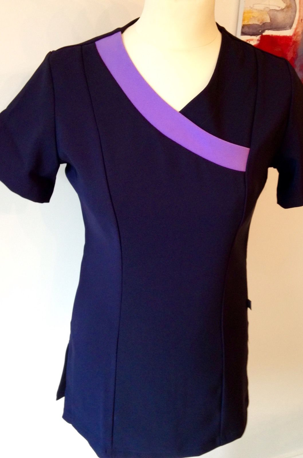 Navy Crossover Tunic with Lilac Trim