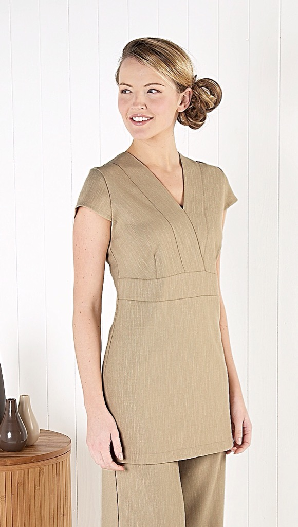 V Neck Linen Look Tunic - Natural