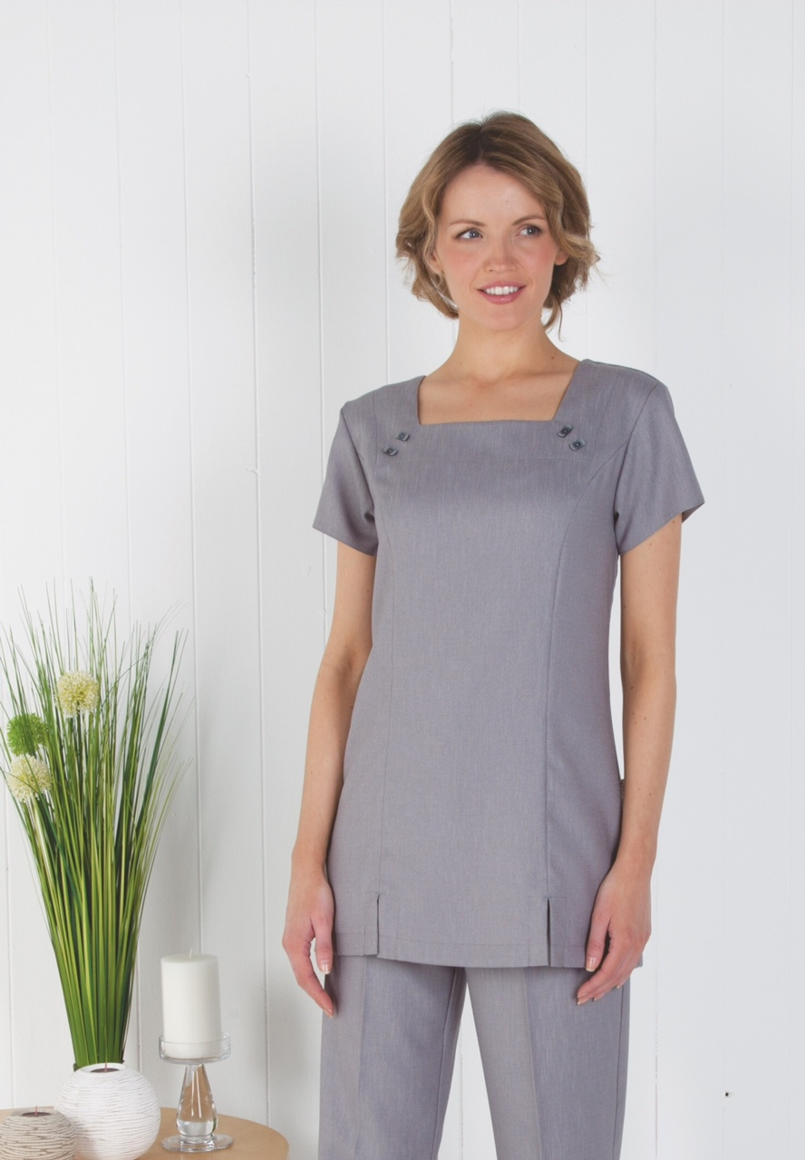 Square Neck Linen-Look Tunic- Pebble