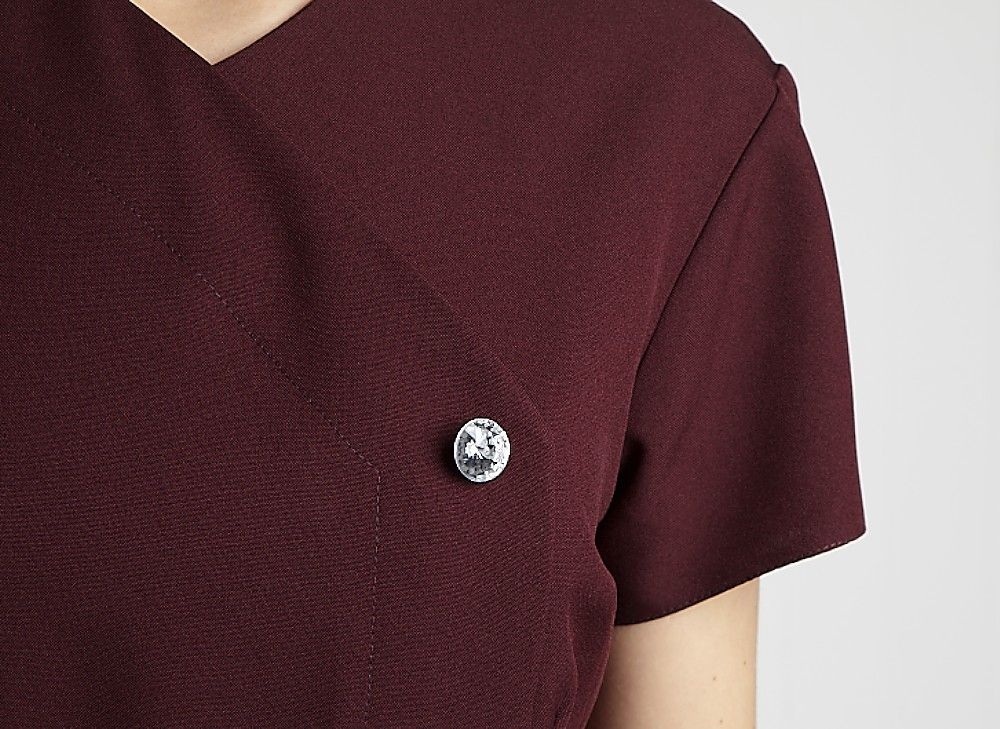 Front Fastening Tunic with Crystal Button Feature