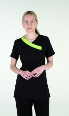Navy Crossover Tunic with Bright Lime Trim