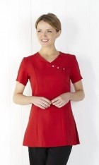 Brights Crossover Tunic with Diamanté Button Detail -Red