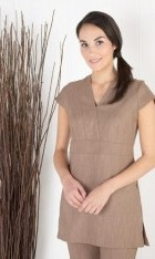 V Neck Linen Look Tunic - Mocha