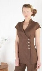 Linen Look Wrap-around Tunic with side fastening buttons