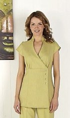 Linen Look Wrap Tunic -Lime