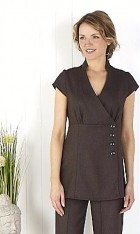 Linen Look Wrap Tunic -Slate
