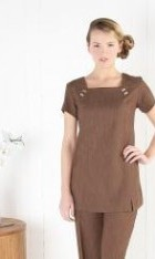 Square Neck Linen-Look Tunic with Button Detail
