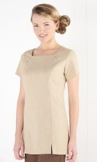 Linen Look Square Neck Tunic -Natural