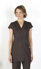 V Neck Linen Look Tunic - Slate
