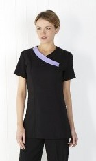 C061 Navy Crossover Tunic with Contrasting Trim