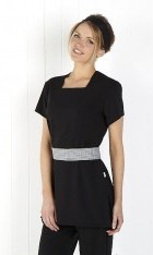 Classic Black Square Neck Tunic- Back Zip Fastening