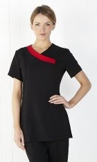 Fitted Crossover Tunic with Contrasting Trim