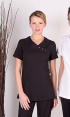 Stretch Crossover Tunic with Diamanté Button Detail