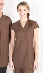 V Neck Linen Look Tunic - Chocolate