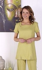 Linen Look Square Neck Tunic -Lime