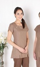 Linen Look Square Neck Tunic- Mocha