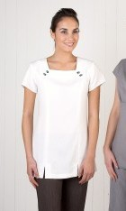Linen Look Square Neck Tunic- White