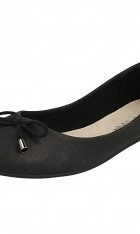 Ladies Soft Leather Ballerina Shoes With Bow F80275
