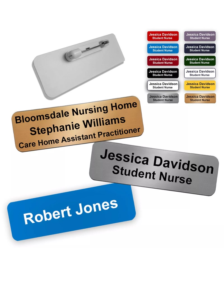 Rectangular Name Badge With Pin Fastening
