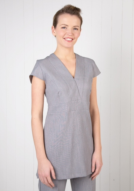 Linen Look V Neck Tunic- Pebble