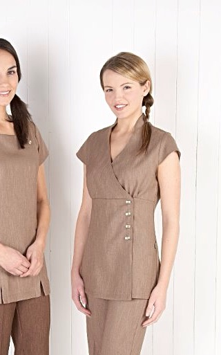 Linen Look Wrap Tunic-Mocha / Natural